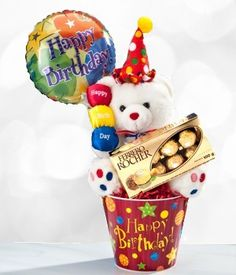 Make someone's day with the Birthday Clown Teddy Bear gift basket. This bright and cheerful white bear wears a clown hat and pompom Happy Birthday greeting. Fathers Day Baskets, Valentine's Day Gift Baskets, Valentine Day Gifts, Valentines, Birthday Parties, Happy Birthday, Teddy Bear Gifts, Balloon Display, Special Flowers
