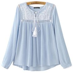 Chicnova Fashion Tie Neck Boho Blouse ($19) ❤ liked on Polyvore featuring tops, blouses, bohemian tops, neck ties, blue top, bohemian blouses and scoop neck blouse