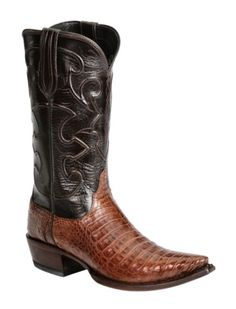 Lucchese Handcrafted 1883 Black & Tan Crocodile Belly Cowboy Boots - Snip Toe available at #Sheplers