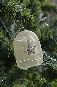 Starfish on a Light Aqua Beach Glass Ornament
