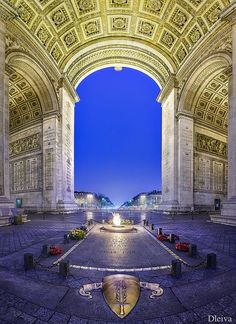 """Arch of Triumph, Tomb of the unknown soldier, Paris, France. The Arc de Triomphe ~""""Triumphal Arch"""" in Paris honors those who fought and died for France. At this site there burns an eternal flame in me Paris Travel, France Travel, Travel Europe, Monaco, Places To Travel, Places To See, Places Around The World, Around The Worlds, Belle France"""
