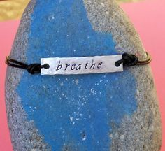Silver Bar and Leather Personalized Bracelet by SeaSaltShop, $20.00