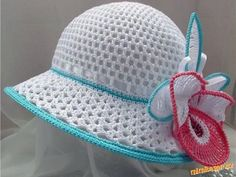 Hats Crochet Patterns Part 3 - Beautiful Crochet Patterns and Knitting Patterns Crochet Summer Hats, Crochet Baby Hats, Crochet Beanie, Crochet Clothes, Knitted Hats, Bonnet Crochet, Knit Or Crochet, Crochet For Kids, Crochet Crafts