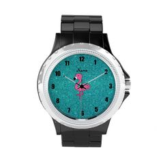 Personalized name pink flamingo turquoise glitter watches