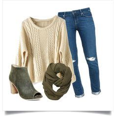 A fashion look from January 2016 featuring loose sweater, destructed jeans and open toe ankle boots. Browse and shop related looks.
