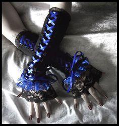 Shadow and Mirth Corset Laced Up Arm Warmers - Black - Bright Royal Blue Ribbon & Ruffled Lace - Lolita Vampire Wedding Dark Emo Rococo EGL