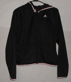 Women's ADIDAS Hooded Athletic Jacket Size Medium Zip Up Black with Pink Stripes…