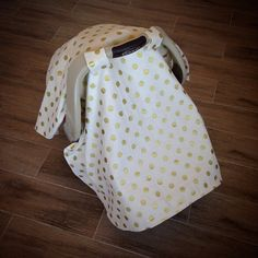 Gold polka dot carseat canopy #evaleeboutique