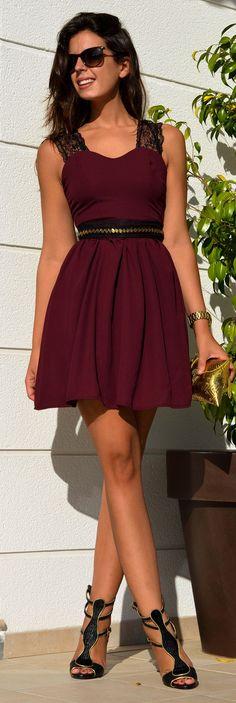 Capriche Burgundy Lacy Straps Skater Dress