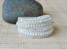 Pearl & Crystal Leather Wrap Bracelet/White Wrap Bracelet/5 Wrap Bracelet/Beaded Leather Wrap/June Birthstone/Gift for Her/Gemini/Boho Bride by DevaOriginalBracelet on Etsy