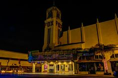 Fox Theater in Bakersfield, California on H Street. The Fox sign must be on a timer or photocell. By the time I shot this, the sign had turned off.  Photos by David Seibold