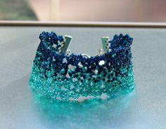 Black Sea cuff bracelet  Navy blue wide bracelet  by FableBubble