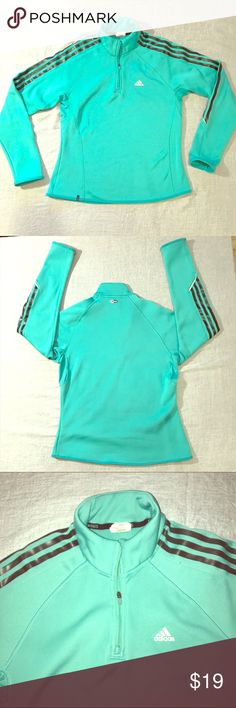 Adidas Clima365 Half Zip Pullover Pastel green Adidas Clima365 Half Zip Pullover for Women.  Very pretty, sporty, and flattering.  Smooth polyester shell.  There is airflow fabric through the underarms to accommodate your body temp.  Size M.  The is pre-owned and has been gently used.  There is a small mark on the back of the collar (see pic).. Adidas Tops Sweatshirts & Hoodies