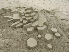 Geometric Sandcastles by Calvin Seibert via Flickr #sandart #sandsculpting #abstractart