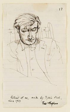 portrait of ted hughes by sylvia plath, 1954.