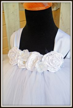 tutu dress, white flower girl dress,  Toddler flower girl dress. $81.00, via Etsy.