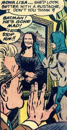 Batman Draws a Moustache on Mona Lisa. Pop Art, Vintage Comic Book Art.