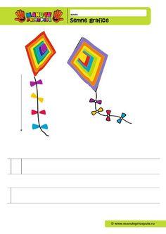 Semne grafice Archives - Manute Pricepute 4 Kids, Kindergarten, Symbols, Letters, 1st Grades, Kindergartens, Letter, Lettering, Preschool