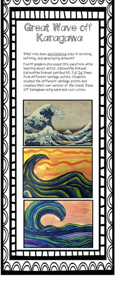 The Great Wave- fourth grade art ~ I really enjoy and learn form children's art Tech Art, 2nd Grade Art, Fourth Grade, Art History Lessons, Hokusai, Ecole Art, Art Curriculum, Wave Art, Middle School Art