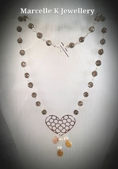 Smokey to the Heart. 925 Sterling silver Necklace with Smokey Quartz by MarcelleKDesigns on Etsy