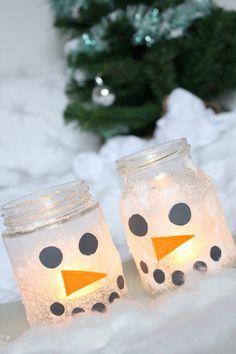 DIY Idee Schneemann Winter Weihnachten Kerze Licht Kinder basteln