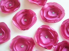 Cerise pink silk Wedding table flower decorations scatters