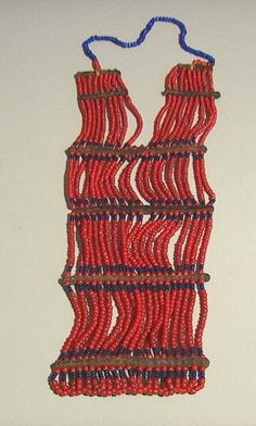 Africa | Old Dinka necklace/chest adornment (length 82 cms). Sudan | Glass beads and leather.