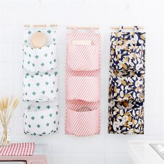 Buy Wall Hanging Storage Bags Organizer Linen Closet Children Room Organizer Pouch for Toys Books Cosmetic Sundries 3 Pockets Wall Hanging Storage, Hanging Organizer, Linen Closet Organization, Kids Room Organization, Decoration, Living Room Kitchen, Stark, Sewing, Oxford Fabric