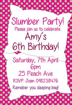 """""""Slumber party"""" printable invitation. Customize, add text and photos. print for free!"""