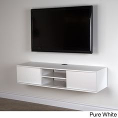 South Shore Agora Wall Mounted Media Console - Overstock Shopping - Great Deals on South Shore Furniture Entertainment Centers Wall Mounted Media Console, Floating Media Console, Floating Tv Cabinet, Console Tv, Hanging Tv On Wall, Tv Wanddekor, Ikea Bank, Floating Tv Stand, Floating Wall