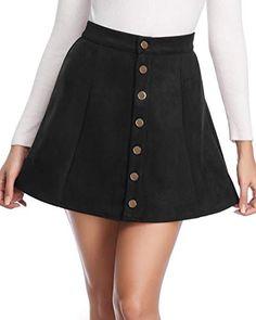 253d69a7a3718 Fuinloth Women's Faux Suede Skirt Button Closure A-Line Mini Short Skirt  Spring