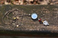 Looking Glass Necklace with Rhinestone by practicallyfrivolous