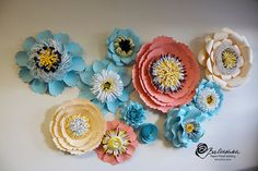 Paper Floral Collage Handmade Paper Flower Art Wall by balushka
