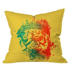 DENY Designs - budi kwan king of the jungle sunkiss pillow