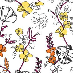 Delicate linear florals, for an elegant dining space, wallpaper by ella & sofia     #linear #styleabra