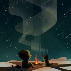Joey Chou: camp fire art, boy with dog