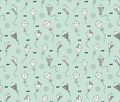 Trendy geometric kites scandinavian style kite illustration fabric for kids black and white mint gender neutral Large - fabric and wallpaper design by Little Smilemakers Studio at Spoonflower