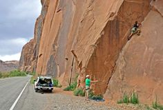 Climbing at Wall Street -- Moab's Most Popular Climbing Area: Wall Street Climbing Season and Access Issues. Photograph @ Stewart M Green