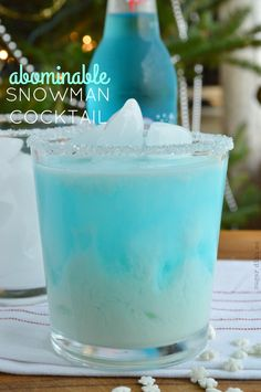 Abominable Snowman Cocktail Recipe 1 1/2-2 ounces rumchata 1 bottle blue cream soda