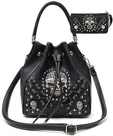 Cowgirl Trendy Western Style Concealed Carry Sugar Skull Punk Art Purse Handbag Messenger Shoulder Bag Wallet Set Black