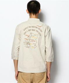 5分袖子的襯衫衝浪和軍事背部刺繡海軍選擇的(鈉全球精選)(襯衫)|沙褐色