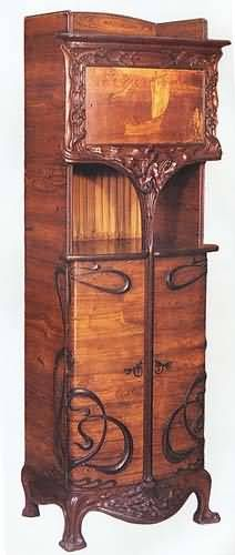 Art Nouveau Furniture Cabinet by Louis Majorelle, inlaid with different kinds of wood.