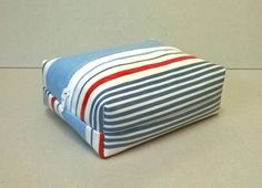 Make up bag in blue and red stripes, oilcloth box cosmetic bag, facial wipes holder, make up remover wipes bag, cosmetic storage