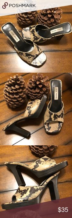 """STEVE MADDEN SNAKE SKIN N HEELS Stunning pair if heels. In great condition. Small scratch on the left heels, not really visible as shown in the picture. True to size. Heel size: 3.9"""" Steve Madden Shoes Heels"""