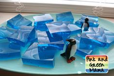 "Pink and Green Mama: * Penguin Party Birthday Cake and Jello Jiggler ""Ice"" Blocks"