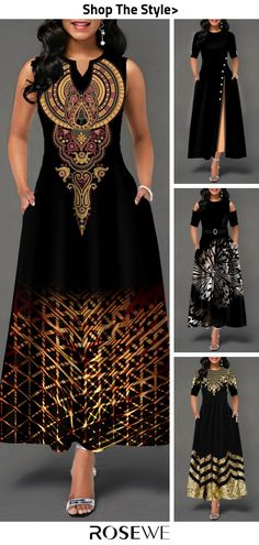 Hot Sale & Maxi Sleeveless Women Dress For 2019 African Print Dress Designs, African Print Dresses, African Print Fashion, Latest African Fashion Dresses, African Dresses For Women, Women's Fashion Dresses, Hippie Elegante, Ankara Mode, Black Dresses Online
