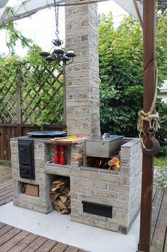 Simple Outdoor Kitchen, Rustic Outdoor Kitchens, Outdoor Oven, Backyard Kitchen, Outdoor Kitchen Design, Summer Kitchen, Kitchen On A Budget, Outdoor Cooking, Kitchen Ideas