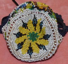 Old Antique Floral Beaded Reticule Crochet Drawstring Purse Sunflower Roses