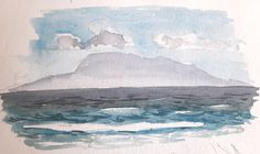 Sketchbook painting of mist surrounding island Watercolour Tutorials, Watercolor Techniques, Painting Techniques, Watercolor Paintings Nature, Seascape Paintings, Watercolours, Beach Sketches, Simple Subject, The Light Is Coming