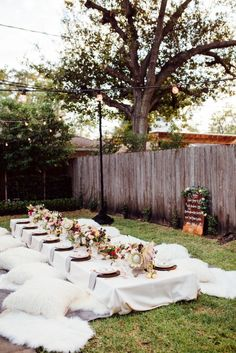 boho backyard dinner party